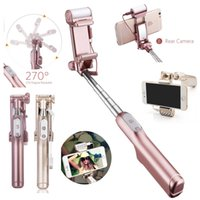Wholesale wireless monopod for sale - Group buy Mini Selfie Stick Monopod Rear Mirror and LED Flash Fill Light Handheld Extendable and Foldable Wireless Bluetooth Flashing