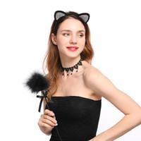 rhinestone de las vendas del oído del gato al por mayor-Moda metal oreja de gato oreja de las mujeres Rhinestone cintas para el cabello Accesorios para el cabello Mujeres Rojo Negro Color diademas