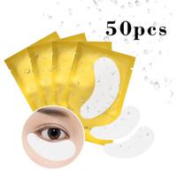 extensiones de pestañas inferiores al por mayor-Puede mezclar 50 piezas / paquete de almohadillas para los ojos para extensiones de pestañas, parches para ojos injertados, hidrogeles, almohadillas de aislamiento de papel para pestañas no tejidas, herramientas de maquillaje