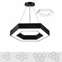 Wholesale kitchen light fixtures for sale - Modern Office Hexagon Led Pendant Light Minimalism Metal Pendant Fixtures Luminaria Lampares Led Hanging Light Suspension Lamp