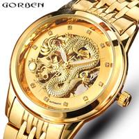 99b000b200db Esqueleto de oro Mecánico Reloj Hombres Automático 3D Tallado Dragón Acero  Mecánico Reloj de Pulsera China de Lujo Top Brand Self Wind 2018 D18100706
