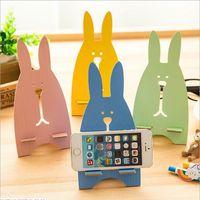 Wholesale wooden mobile phone holders - Korean super cute rabbit wooden mobile phone holder Bear cute rabbit mobile phone holder universal lazy mobile phone holder wholesale