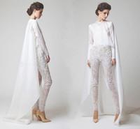 12 parça inci toptan satış-Yeni Beyaz Abiye İki Adet Şifon Dantel Inci Pantolon Uzun Kollu Elio Abou See Through Fayssal Abiye giyim Ceket Ile DH4123