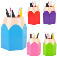 Wholesale stationery office supplies online - High Quality Storage Bottles Colors Office Organizer Round Cosmetic Pencil Pen Holders Stationery Container Office Supplies
