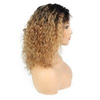 perruques de lacet expédition gratuite achat en gros de-1B 27 bouclés perruque de cheveux humains brésiliens 13X6 avant de lacet perruques de cheveux humains pour les femmes noires Full Lace perruques livraison gratuite
