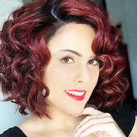 Wholesale Natural Red Hair Wig - Amir New Arrival Short Bob Hair Wigs Heat Resistant Synthetic Vintage Women's Wine Red Curly Wigs with Side Bangs