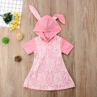 bebek küpe elbisesi toptan satış-Yeni Çocuklar Bebek Kız Pembe Çiçek Dantel Elbise Tavşan Kulak Kapşonlu Kısa Kollu Prenses Parti Elbiseler Yaz Çocuk Kız Giysileri 6M-4Y