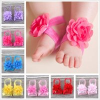 Wholesale flower girl shoes sale for sale - 18 colors Best Sale Baby Foot Flower Wristband Barefoot Sandals Folds Chiffon Flower baby girl shoes