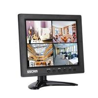 camaras bnc al por mayor-ESCAM T08 8 pulgadas de Split 4 Monitor TFT LCD VGA HDMI AV BNC Entrada USB para la cámara de circuito cerrado de televisión