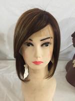 siyah beyaz karışık peruk toptan satış-İnsan Saç Bob Düz Peruk Karışık Sarışın Renk Remy Bakire Peruk Siyah Kadınlar Için / Beyaz Kadınlar