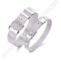 Wholesale prong belt - JEXXI Fashionable Belt Design Pure 925 Sterling Silver Fine Jewelry Bracelet Top Quality 2 Size Options For Woman Man