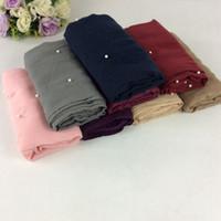 Wholesale Muslim Long Scarf - Nice Pearls Viscose Women Scarves 2017 Shawls Muslim Hijabs Long Scarf Women Luxury Pearls