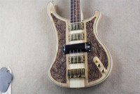 Wholesale hand carving guitar bodies resale online - New Style deluxe edition neck through body nc carving Rick Nature Wood Pickups Strings Electric Bass Guitar Golden Hardware