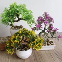 зеленый бонсай оптовых-Приветствуя Сосна бонсай моделирование декоративные цветы и венки искусственные цветы поддельные зеленый горшок растения Home Decor