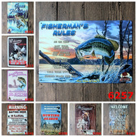 Wholesale wholesale man cave - Tins Sign 20*30cm Gone Fishing Iron Paintings Fishermans Rules Hunting Season Tin Poster Man Cave Warning Baiting Deer Is Illegal 3 99ljo BZ