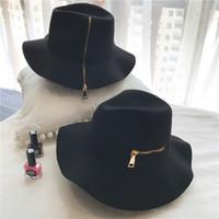 i̇ngiliz tarzı dekorasyon toptan satış-2018 yeni Avrupa ve Amerikan tarzı moda fermuar dekorasyon yün şapka kişiselleştirilmiş retro Caz şapka İngiliz tarzı erkek kadın tüm maç şapka