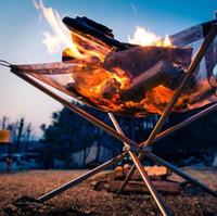 brennen herd großhandel-2018 Hot Winter Outdoor Feuer Brennen Pit Stand Tragbare Solid Fuel Rack Klappofen Feuer Rahmen Schnelle Heizung Holzkohle Herd Camping Werkzeug