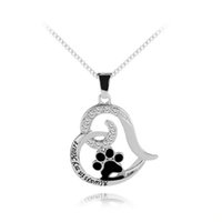 joyas personalizadas estampadas a mano al por mayor-Always In My Heart Necklace Mano Estampada Joyería Inicial Conmemorativa de Mascotas con Paw Necklace Personalized Dog Lover Regalo Pet Loss Regalos