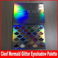 Wholesale Eye Shadow 32 Color - Cleof Cosmetics The Mermaid Glitter Palette shimmer Eye Makeup 32 color Eye shadow Palette with mirror