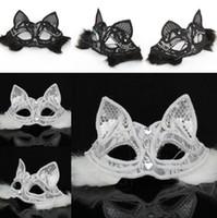 mascaras de zorro sexy al por mayor-Zorro Encaje Pluma Máscara Sexy Media cara Ojo máscara Máscara de Halloween Mascarada Fiesta Danza Fiesta de Navidad Señora Vestido de lujo