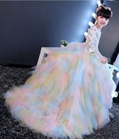 vestidos de tren de arco iris al por mayor-Mangas de tul del arco iris Apliques Tren Vestidos de niña de flores Vestidos de princesa Vestidos de chicas Vestidos a medida Tamaño 2-6 8 10 12 14 kf312001