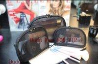 sacos com zíper de malha venda por atacado-Conjunto de 3 C moda Malha Preta saco de zíper elegante famosa beleza cosméticos caso organizador de maquiagem de luxo saco de designer de produtos de higiene pessoal Caso presente VIP