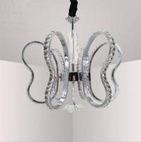 diseño de iluminación contemporánea de cristal al por mayor-Modern Cute Butterfly design K9 crystal chandelier Lámparas colgantes de aluminio contemporáneas LED lustre cristal suspendidas lámparas para sala de estar