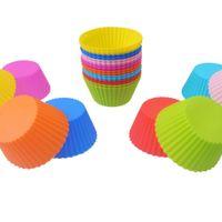 ingrosso tazze di gelatine-Stampi per torte in silicone 7 cm forma rotonda gelatina stampo in silicone cupcake pan muffin tazza accessori partito stampo di cottura spedizione gratuita