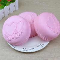 Wholesale Cute Cartoon Heart - Pink Love Heart Cake Squishy Cute 11.5cm Jumbo Slow Rising Phone Straps Cartoon Cream Scented Bread Kid Fun Toy Gift Free Shipping