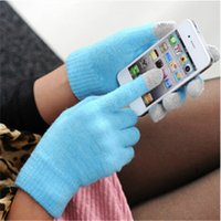Wholesale Ipad Gloves Women - Unisex Capacitive Finger Touch Screen Gloves for Iphone Ipad Smart Phones Winter Knitting Warm Gloves for Men and Women DHL Ship