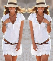 Wholesale Lady Ball Slim - Dresses New Sexy Women Lady Slim Lace V Neck Bodycon Fashion Brief White Mini Short Casual Summer Party Short Mini Dress 2018