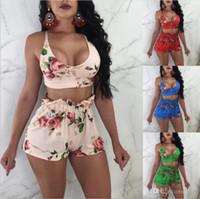 s yoga outfits großhandel-18SS Frauen Zweiteiler Weibliche Sexy Bogen Drucken Bh Top + Mini Kurze Hose Damen Unterwäsche Outfit Femme Nachtclub Anzüge Plus Größe