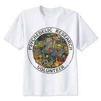 korkak baskı toptan satış-Toptan Satış - Araştırma Gönüllü T-Shirt erkekler İnce Funky renkli Baskı trippy t gömlek erkek Vintage Tshirt kafatası komik en tees