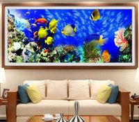 Wholesale embroidery fish - 2018 New DIY Diamond Embroidery Round Diamond Ocean Fish Landscape Full rhinestone 5D Diamond painting cross stitch Craft tools