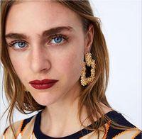 индийская модная мода оптовых- Big Vintage Earrings for women gold silver color Geometric statement earring 2018 metal earing Hanging fashion jewelry