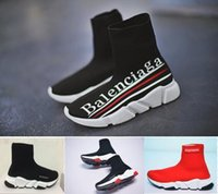 Wholesale knitted elastic band - HOTSALE 2018 New Luxury Paris Speed Trainer Stretch Knit Sock Women Men Mens Designer Running Brand Shoes Sneakers Eur 36-45