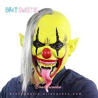 masks al por mayor-Máscara de Halloween fiesta de disfraces de payaso para adulto cara de látex cara completa máscaras para adultos Horror Demon Party Props suministros