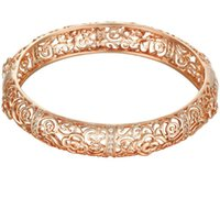 полые золотые браслеты оптовых-designer jewelry braclets for women rose gold flowers hollow out bangles simple hot fashion free of shipping