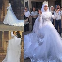 Wholesale luxurious cathedral wedding dresses resale online - Luxurious Saudi Arabic Ball Gown Muslim Wedding Dresses Appliques Cathedral Train Long Sleeve Bridal Gowns Wedding Gowns robe de mariee