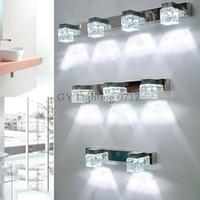 banyo aydınlatması toptan satış-110 V 220 V 240 V LED kristal banyo ışıkları temizle Kristal yağmur damlası abajur ayna aydınlatma makyaj vanity led duvar armatürleri