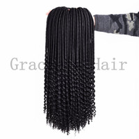 Wholesale Beauty Braids - Beauty curly synthetic hair extensions 20inch 100g crochet braids dreadlocks braids freetress hair extensions faux locs curly ends hair