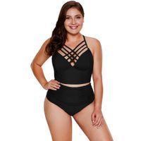 Wholesale plus size strappy swimwear online - New Plus Size Swimwear Black Strappy Neck Detail High Waist Swimsuit LC410334 sexy Bathing Suit beachwear for women XXXL