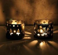 Bougeoir De Noël Vintage Marocain De Fer Creux Flocon De Neige Arbre Cerf Maison Fête De Noël Décoration Noir Blanc