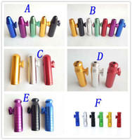 Wholesale tools dispenser resale online - Aluminum metal Bullet Rocket Shaped Snuff Snorter Sniff Dispenser Nasal Endurable For Tobacco Cigarette Smoking Pipe Tools colors styles