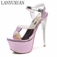 Wholesale Super High Heel 16cm - LANYUXUAN 2017 Sandals wedding Party Women Sexy fashion Big Size 31-48 Lady Shoes Super High Heel(16CM) Women Pumps shoes 205