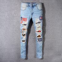 Wholesale Personalized Jeans - 2018 men Jeans World Famous Designer Brand Men Personalized Stylish Popular Holes Jeans Motorcycle Jeans Denim Pants Trousers