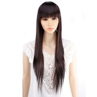 Wholesale Blonde Straight Bangs Wig - Amir 11 colors Synthetic Long Straight Natural Hair Wigs With Bangs Womens African American Hair Brown Blonde Black Color