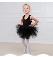 algodão verão vestidos anos bebê venda por atacado-6 cores do bebê meninas collant dancewear ballet tutu gaze saia bodysuit crianças meninas desempenho bolha de algodão de verão vestido de dança 2-9 anos