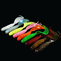 Wholesale bait rigging - 10PCS Lot Curly Tail Soft Lure 70mm 2.5g Forked Tail fishing bait grubs Plastic Maggot Fishing lure Jig Head Texas Rig