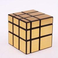 ingrosso imparare l'oro-3x3x3 Magic Mirror Cube professional GoldSilver cubo magico Cast Coated Puzzle Speed Twist di apprendimento e di educazione Giocattoli